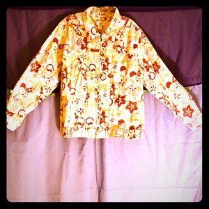 CJ Banks floral pastel light denim jacket 1X